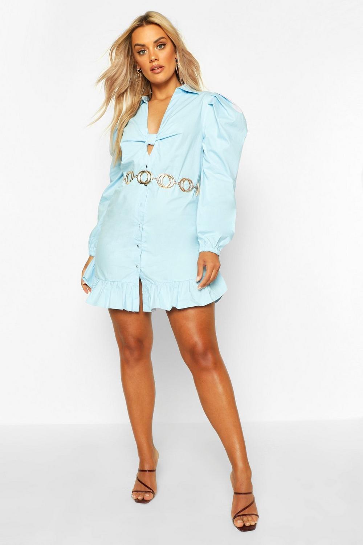 Plus Blusenkleid Mit Rüschensaum Und Knotenfront  Boohoo