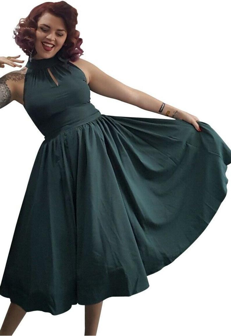Plus Größe 50Er Jahre Kleid Kleidung 18 20 22 24 26 28