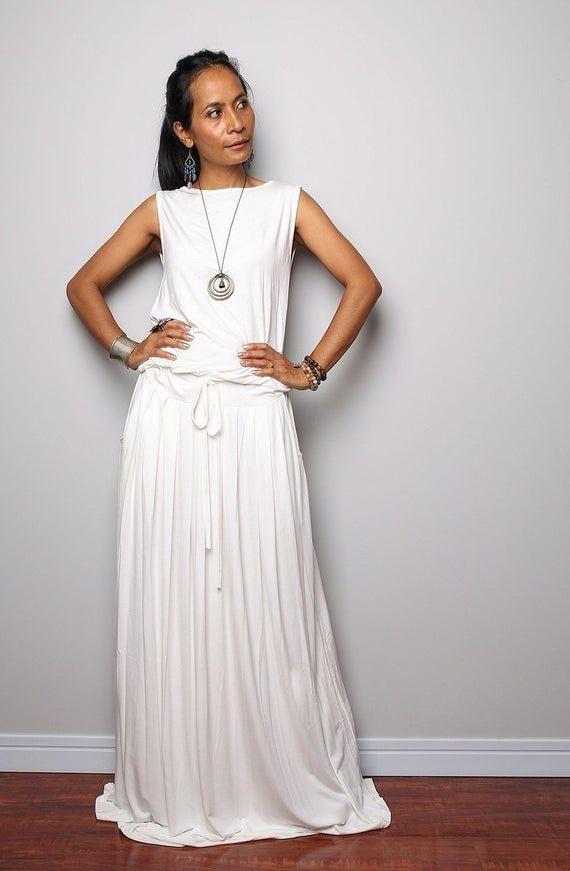 Plus Size Kleid / Aus Weißen Maxikleid  Ärmelloses Kleid