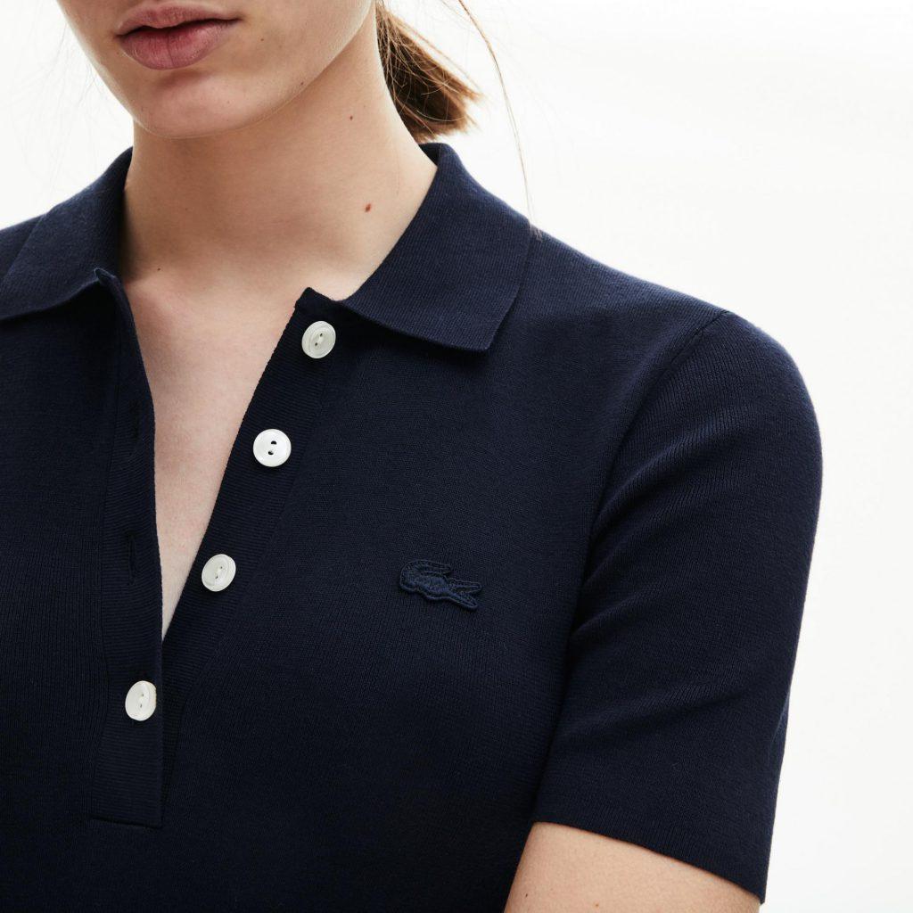 Polokleid Aus Strickware Navy Blau  Damen Lacoste Kleider