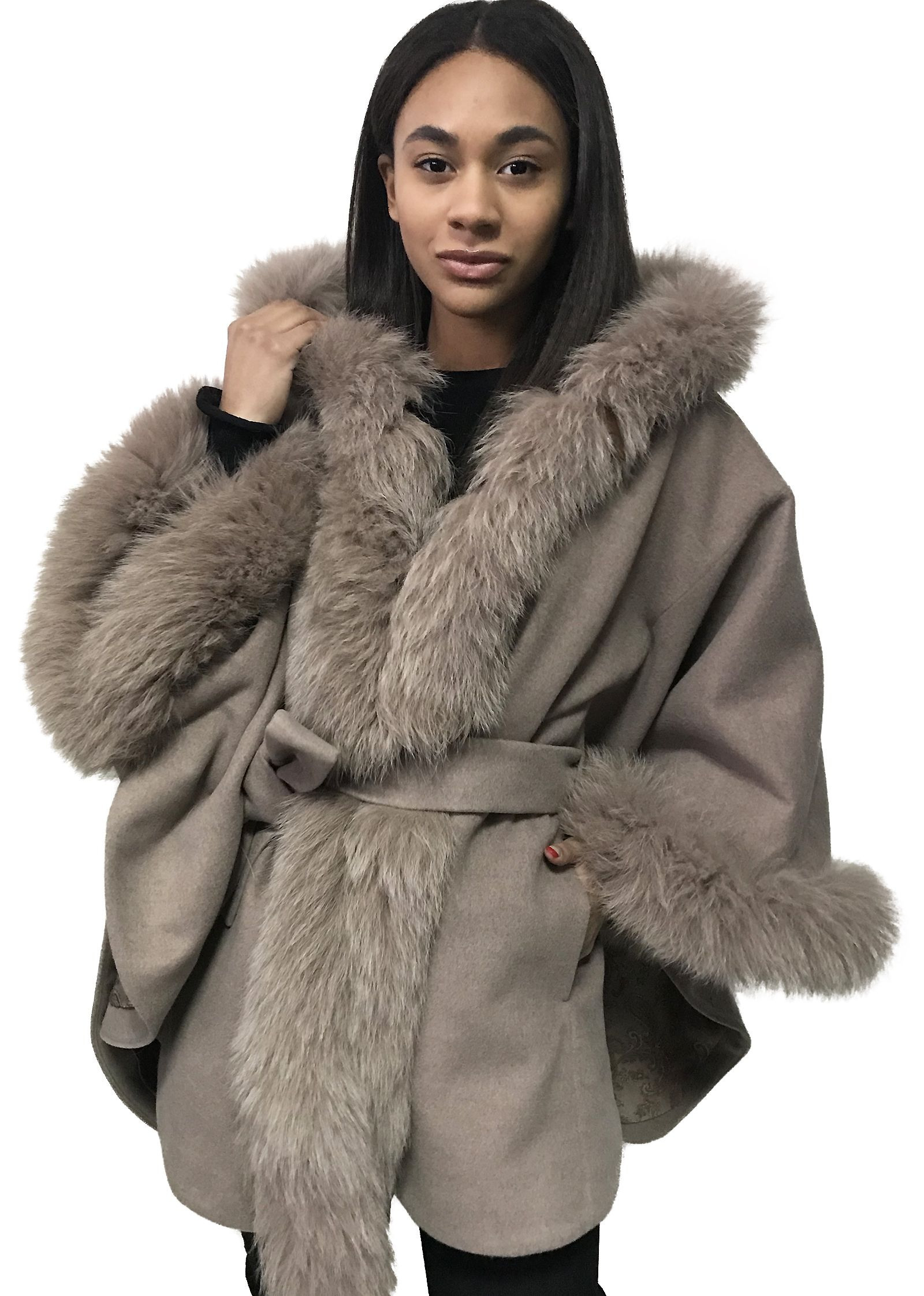Poncho Cape Cashmere Hood Fox Fur Trim  Buy In The Online