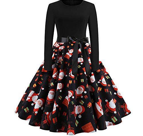 Pottoa Damen Weihnachten Kleider Langarm Weihnachtskleid