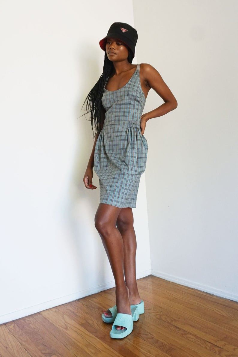 Prada Y2K Blau Kariert Korsett Stil Racerback Kleid Mit  Etsy