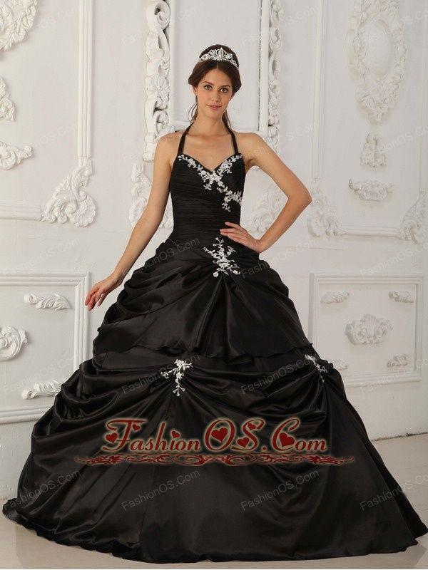 Pretty Black Quinceanera Dress Halter Taffeta Appliques A
