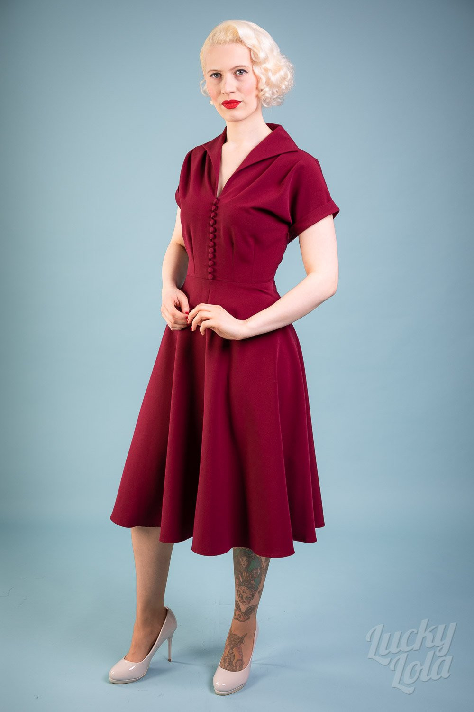 Pretty Retro 40S Hostess Dress Weinrot