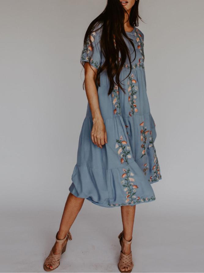 Print Urlaub Kurzarm Baumwolle Kleider  Sommerkleider