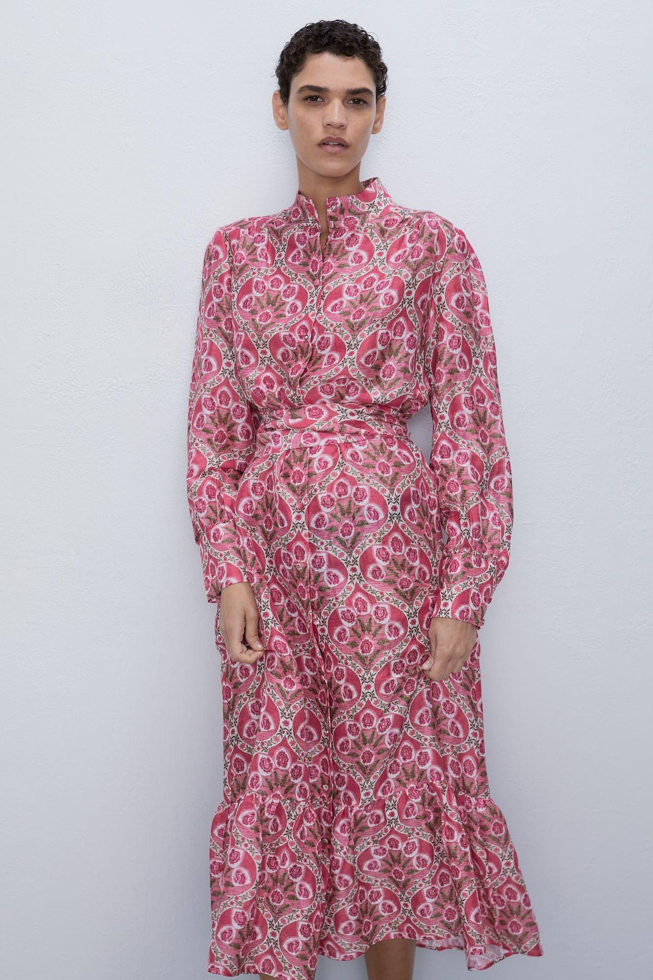 Printed Midi Dress  Zara India In 2020  Midikleider