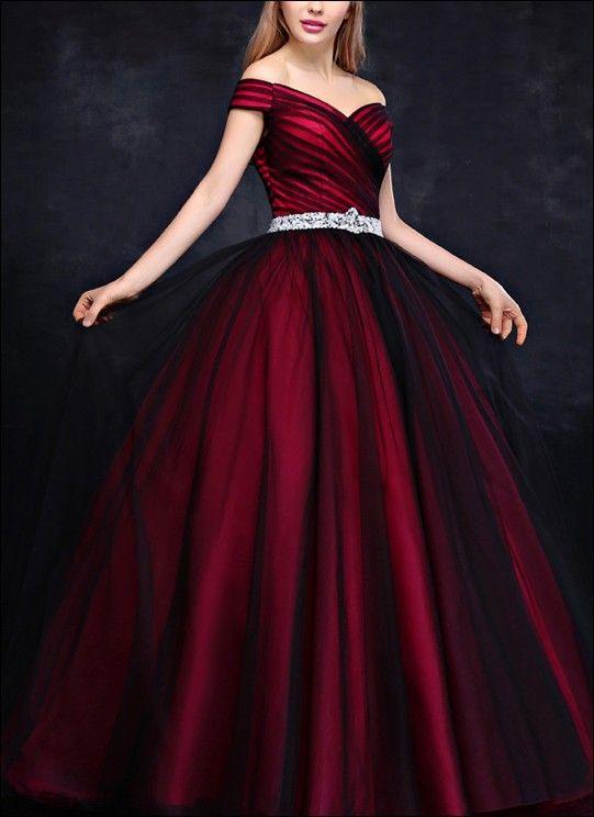 Prinzessin Ballkleid Schwarz Rot  Ballkleid Rote