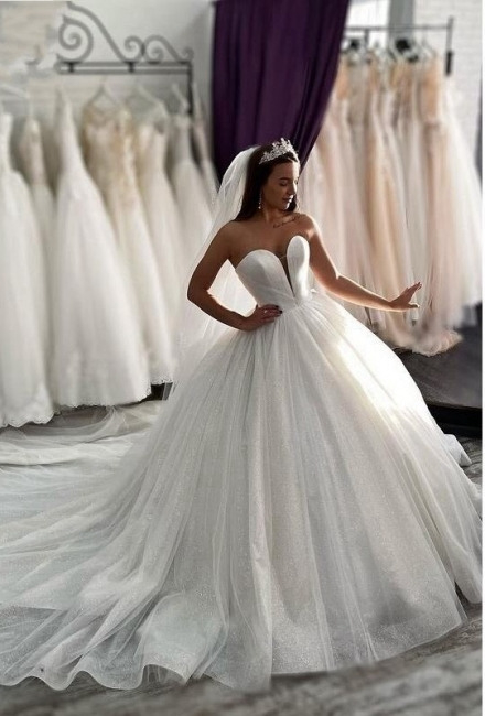 Prinzessin Brautkleider Glitzer  Hochzeitkleider A Linie