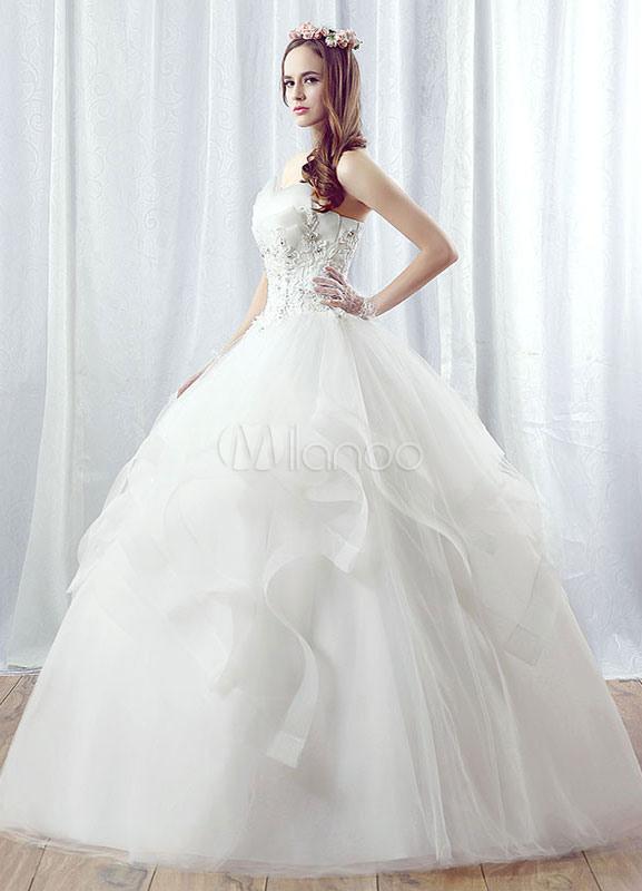 Prinzessin Hochzeitskleid Tüll Maxi Trägerlosen Brautkleid