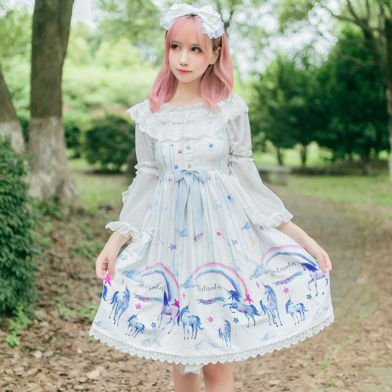 Prinzessin Sweet Lolita Brokat Garten Lolita Kleid Einhorn
