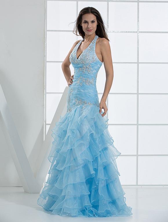 Prom Dress Long Aqua Halter Ruffles Tulle Beading Mermaid