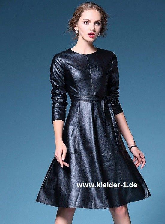 Pu Leder Damenkleid In Schwarz  Kleidung Damenkleider