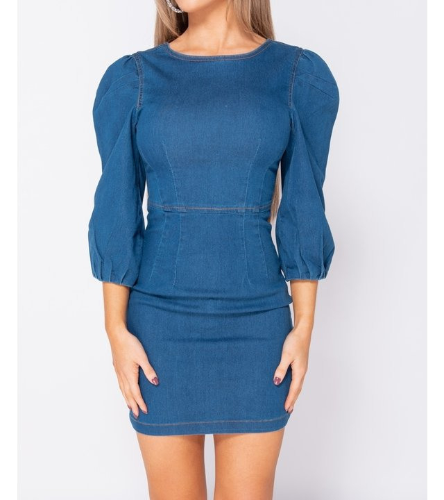 Puffärmel Denim Figurbetontes Kleid  Frauen  Blau