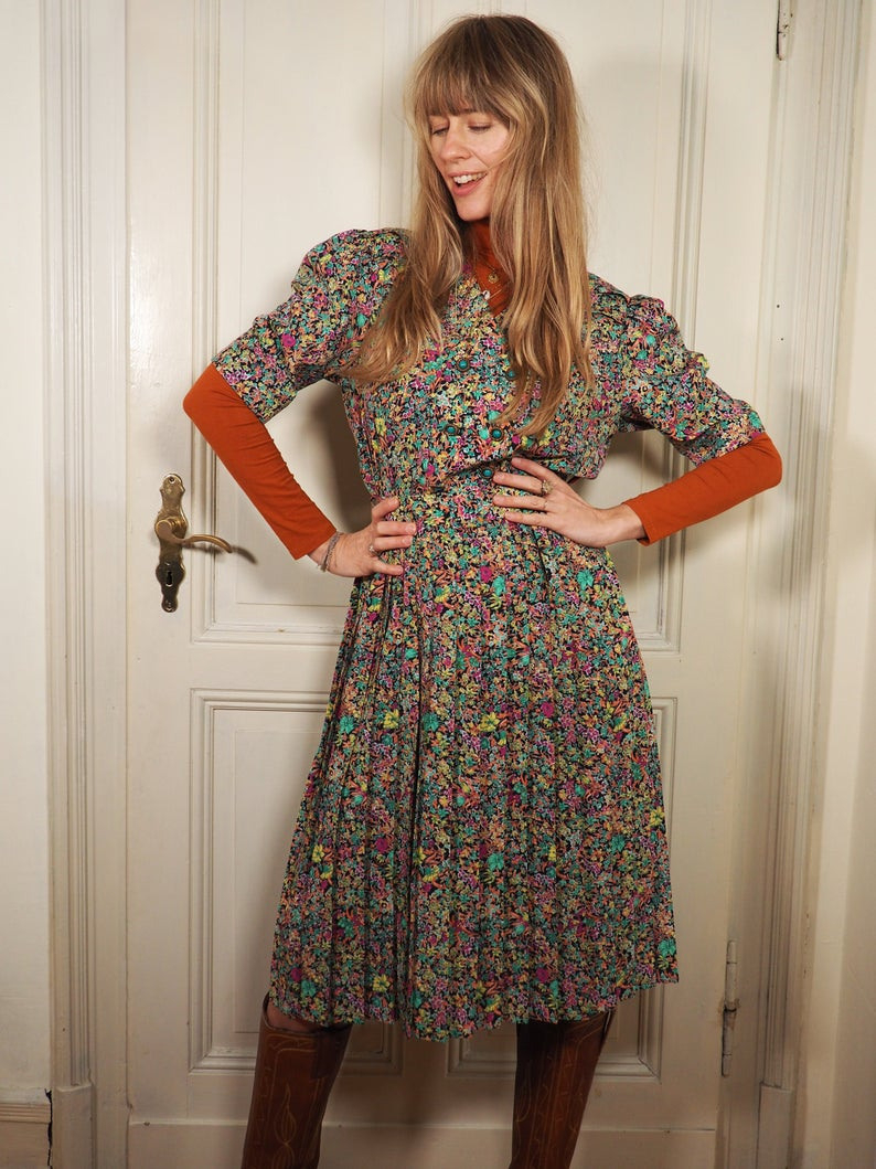 Puffärmel Kleid 80S Blumenkleid Sekretärinnen Kleid