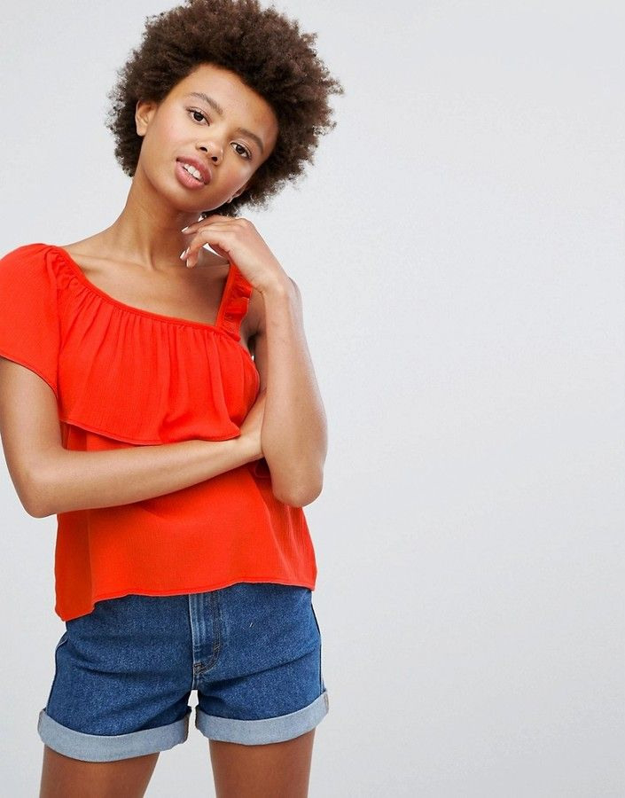 Pullbear Top With Asymetric Ruffle Shopping Deals Ad