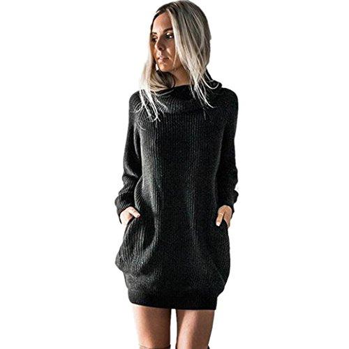 Pullover Kleid Damen Gjkk Mode Damen Frauen Solide O