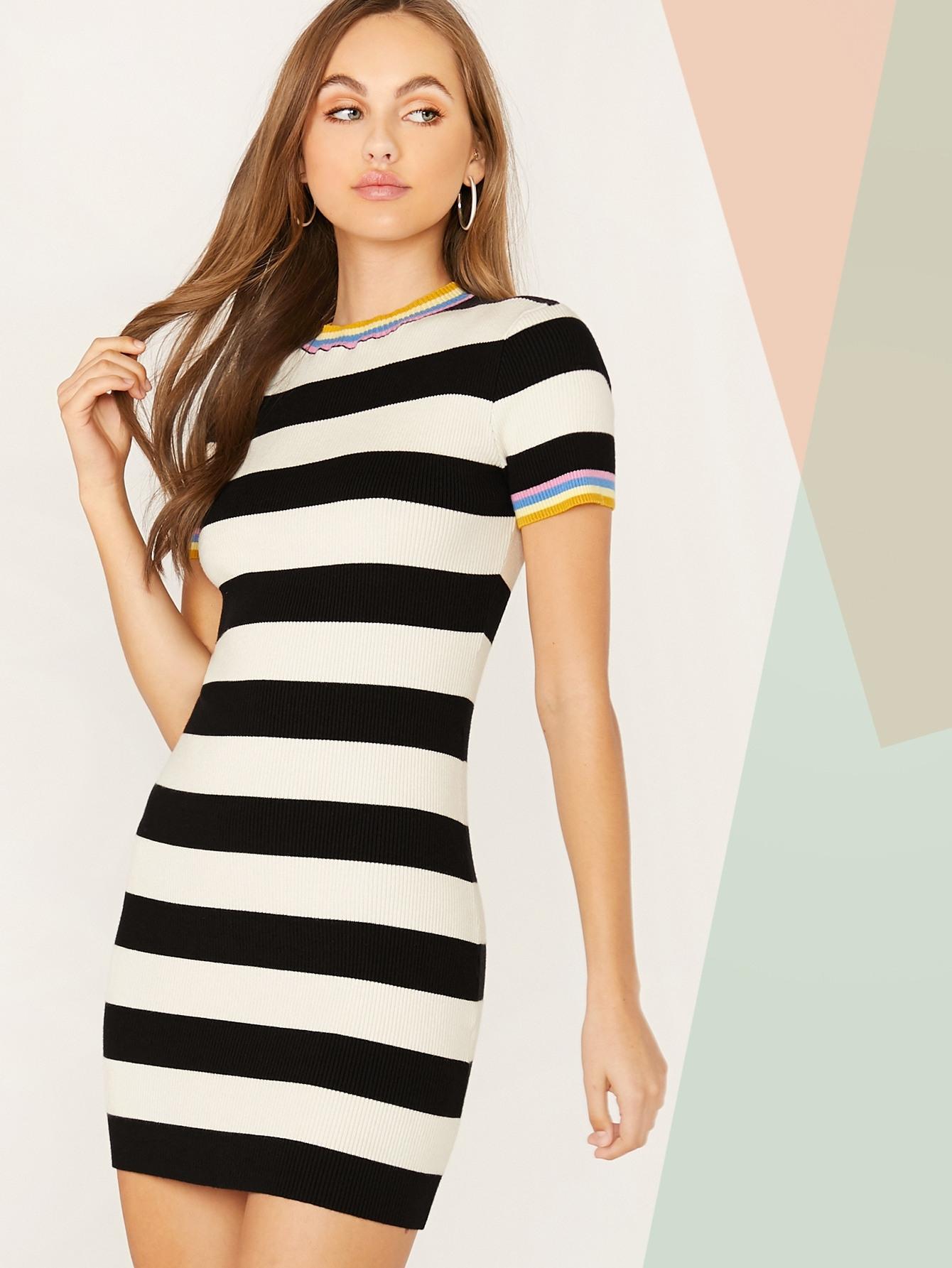 Pullover Kleid Mit Streifen  Shein