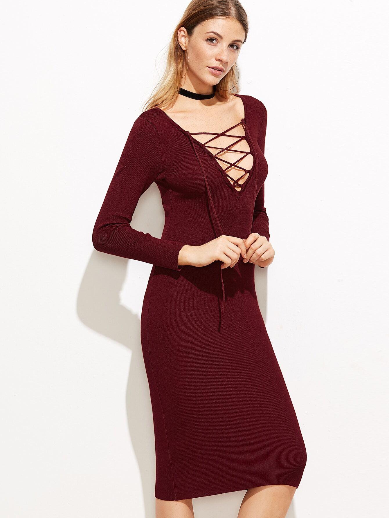 Pullover Kleid Mit Tiefem Vausschnitt Schnüren Burgund