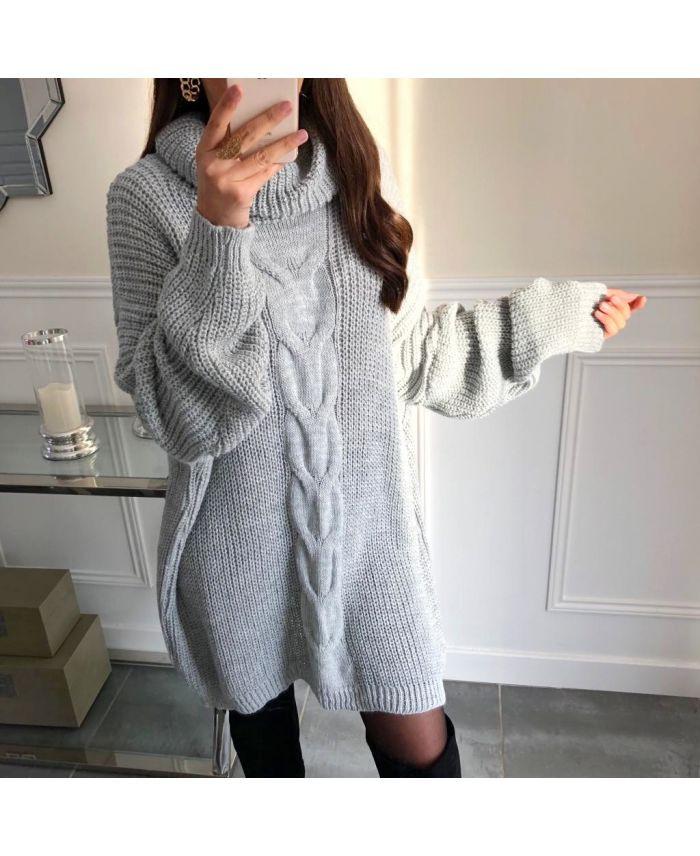 Pullover Kleid Oversize Zopfmuster 5112 Grau  Www