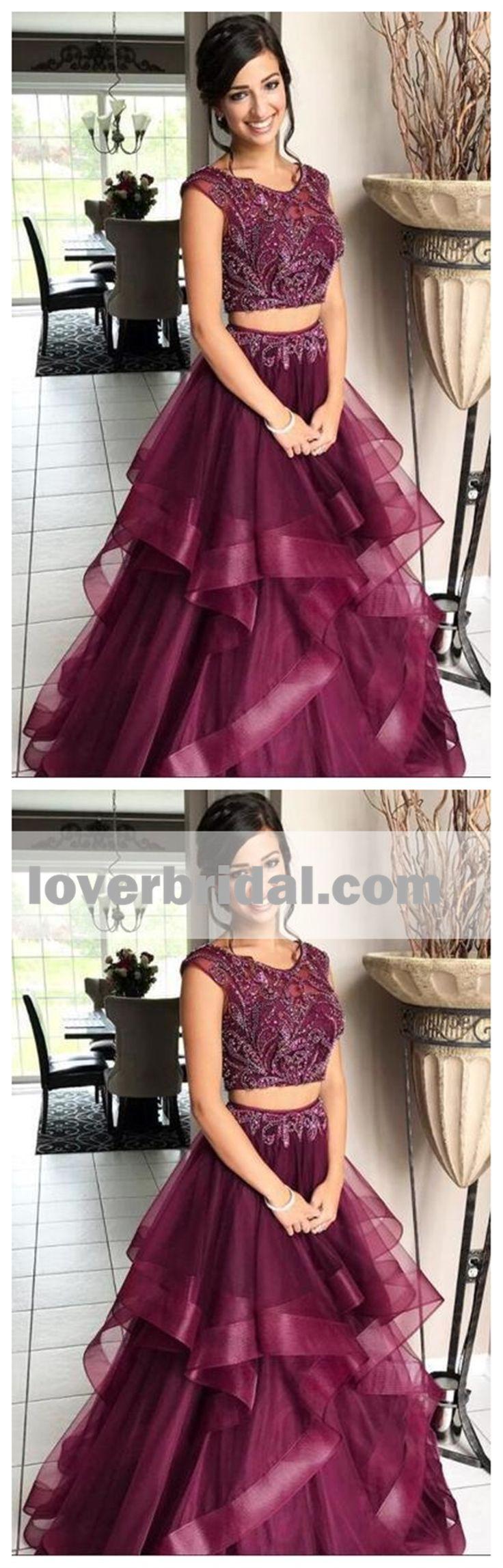 Purple Two Pieces Bateau Aline Long Evening Prom Dresses