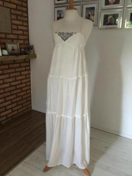 Quicksilver Kleid Zara Hippie Maxi Boho Maxikleid Weiß Gar