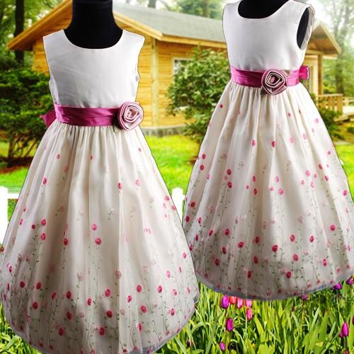 R287 Elfenbein Kinder Blumenmädchen Kleid Gestickte