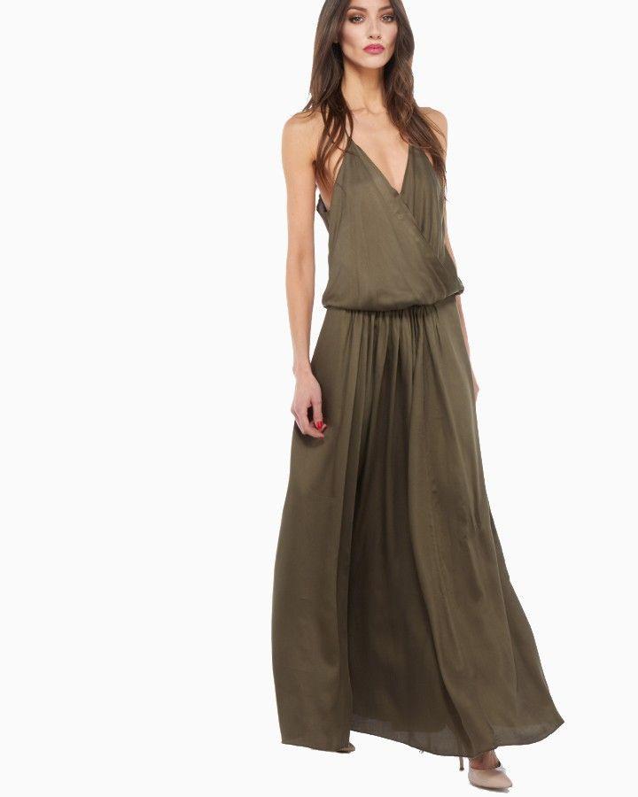 Rabens Saloner Inger Langes Kleid In Khaki  Lange Kleider
