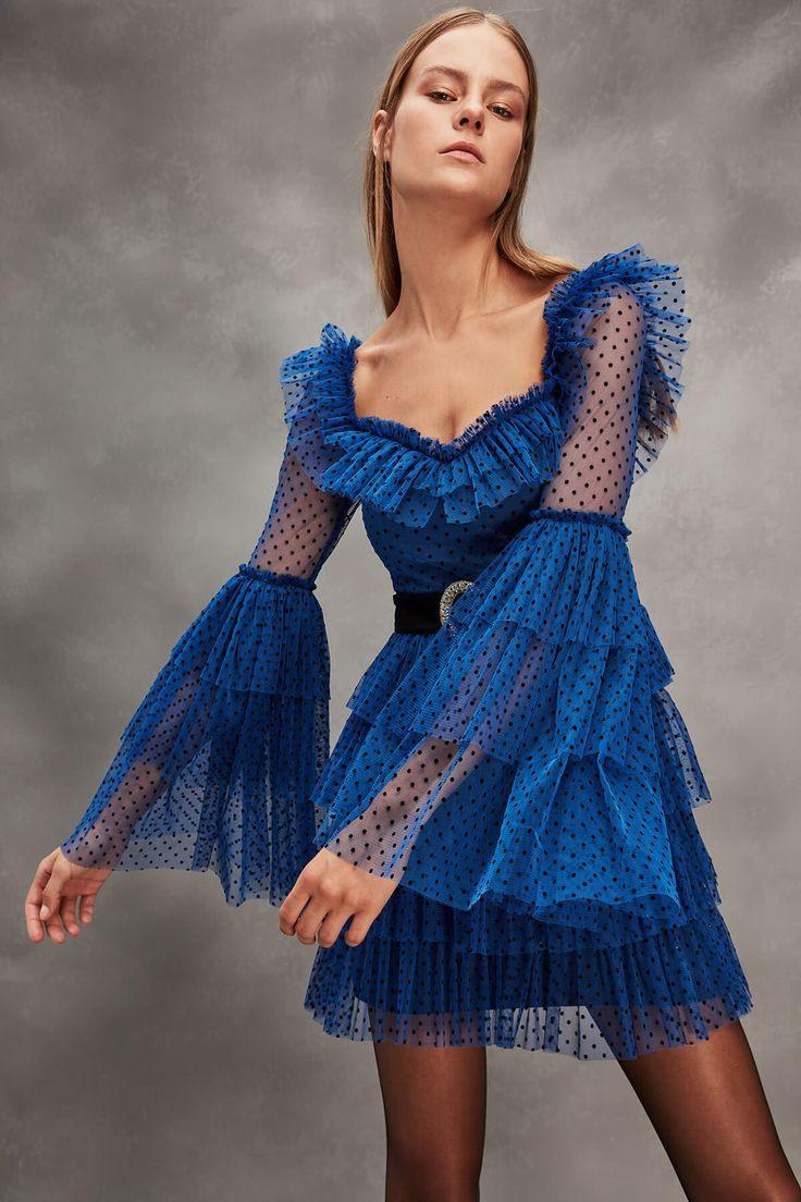 Rachel Blue Belt Detail Abendkleid Tdpaw19Fz0166 Raisa Amp