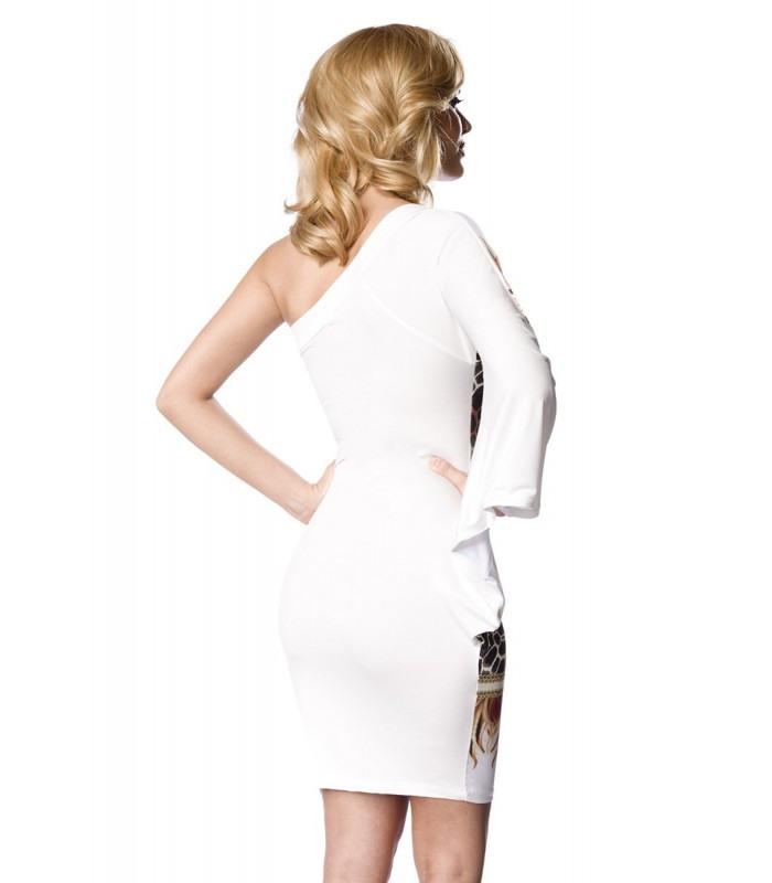 Raffiniertes Minikleid Weiß/Gemustert  At13910  Fashionmoon