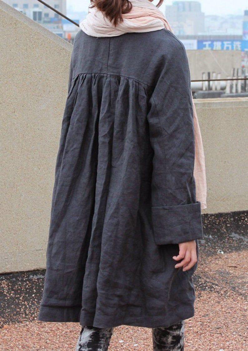 Ramies / Freien Stil Plissee Leinen Lange Jacke / Cape