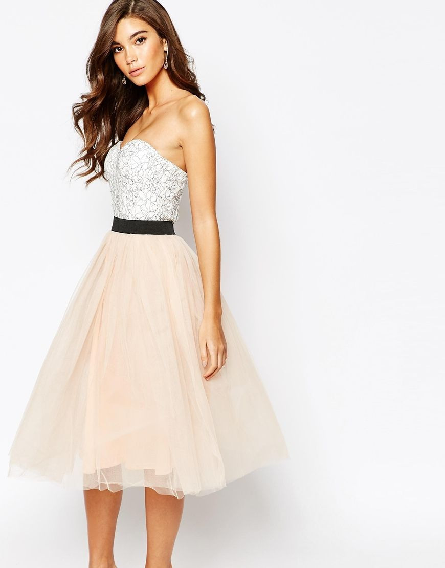 Rare London Lace Prom Midi Dress With Tulle Skirt  White