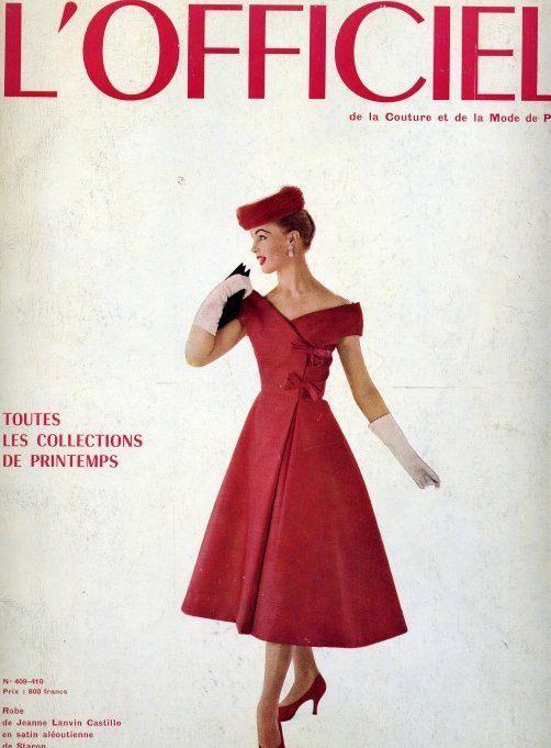 Red Satin Dressjeanne Lanvin Castillo  1956  Red