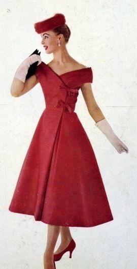 Red Satin Dressjeanne Lanvin Castillo  1956  Vintage