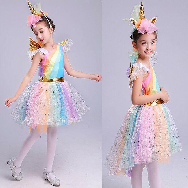 Regenbogen Einhorn Karneval Kostüm Kinder Mädchen Tutu