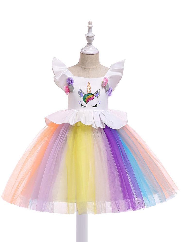 Regenbogen Einhorn Prinzessin Kleid Mädchen