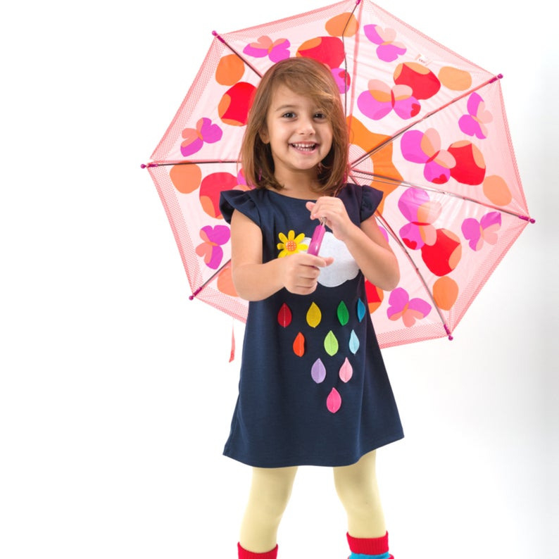 Regenbogen Mädchen Kleid Regenbogen Kleid Regentropfen  Etsy