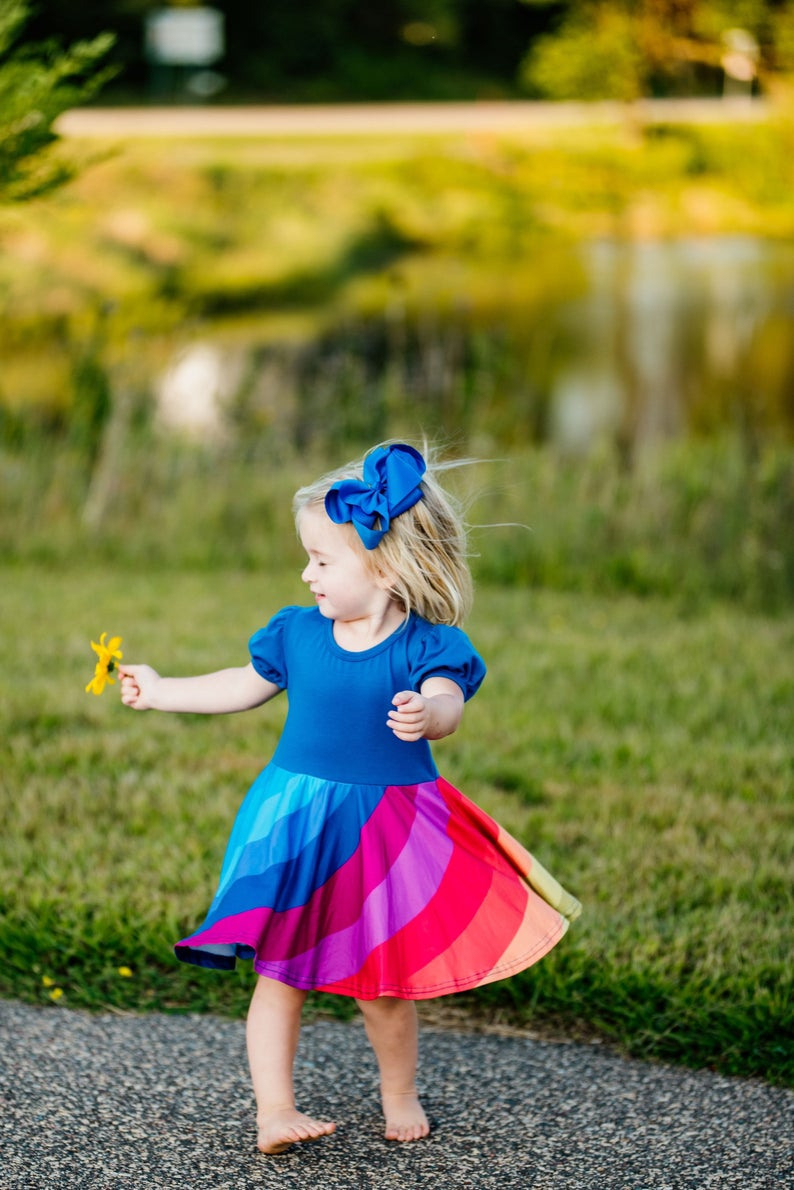 Regenbogen Wirbelnde Kleid Blau Butter Weich Mädchen  Etsy