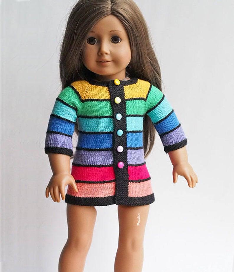 Regenbogenkleid Für Puppe Kleidung Outfit Pullover Kleid
