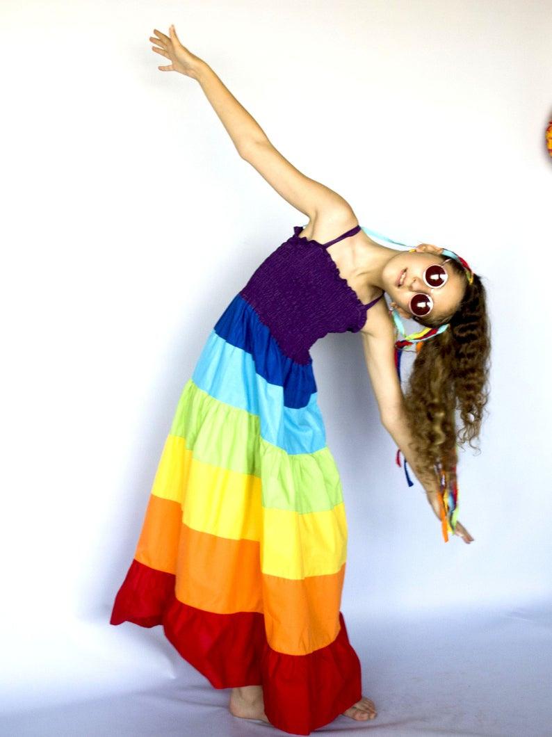 Regenbogenkleid Gestreifte Regenbogenkleid Für Kleinkind