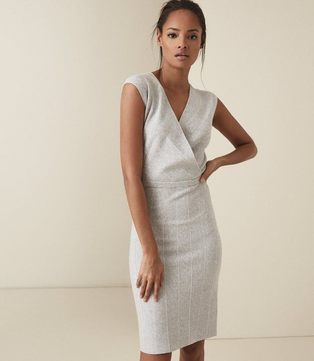 Reiss  Olivia Wrap Front Knitted Bodycon Dress  6 Mit