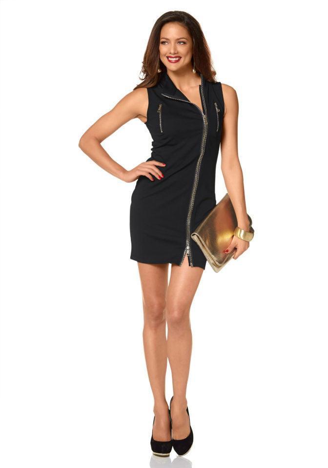 Reißverschlußkleid Schwarz  Kleider  Outlet Modeshop