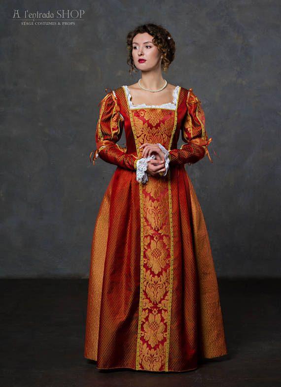 Renaissance Dress Red Terracotta Color Gown Italian