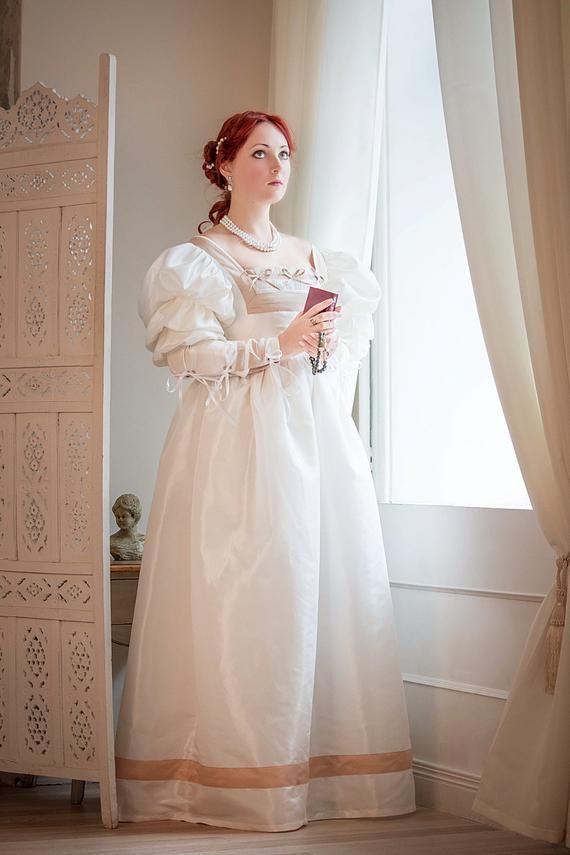 Renaissance Hochzeit Kleid Weiß  Gold Renaissance
