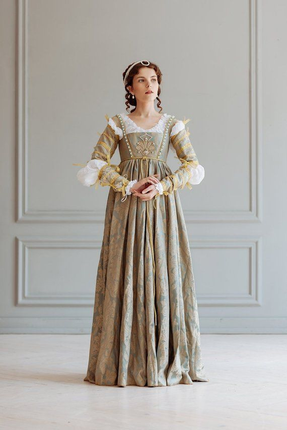 Renaissance Lucrezia Borgia Frau Kleid Set 15  16
