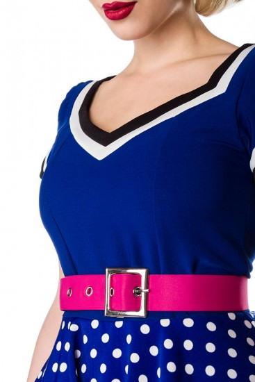 Retro Kleid Mit Gürtel Kurze Puffärmel Schwarz Blau
