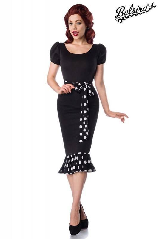 Retro Kleid Schwarz Mit Angerüschtem Volant  Belsira