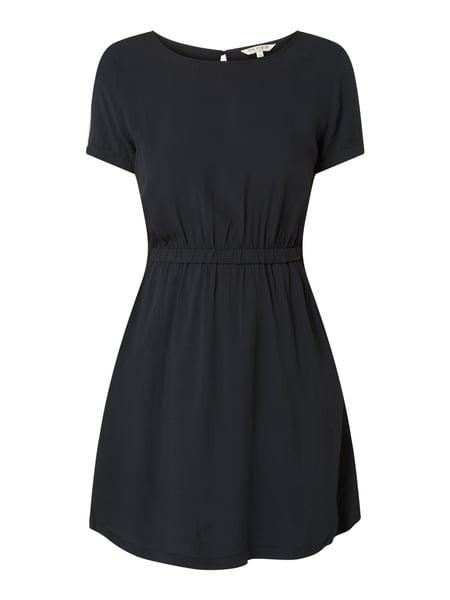 Review Kleid Mit Gummizug In Grau / Schwarz Online Kaufen