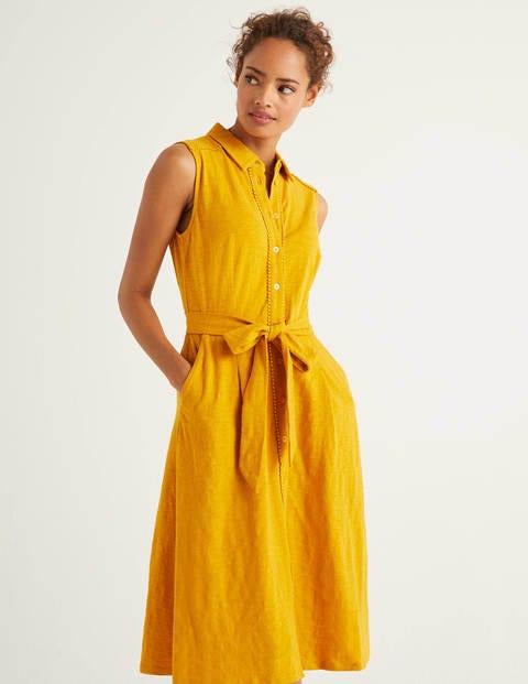 Rhoda Jerseyhemdblusenkleid Mit Zierborte  Sonnengelb