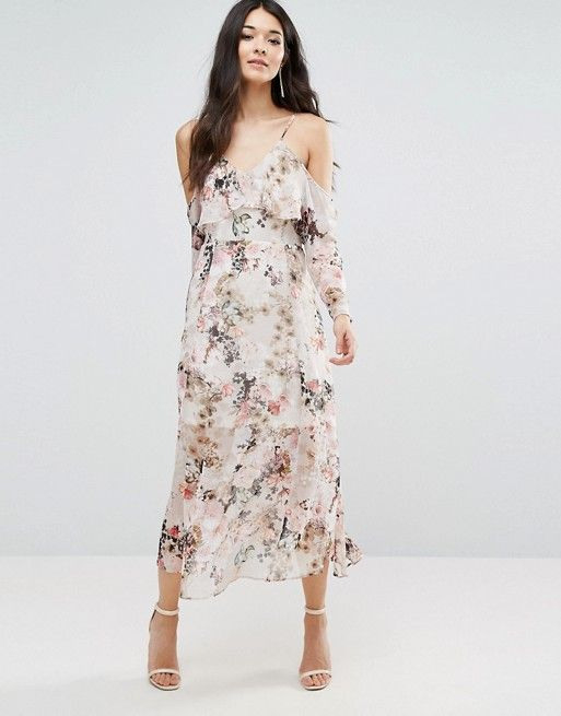 River Island Floral Midi Dress With Cold Shoulder At Asos